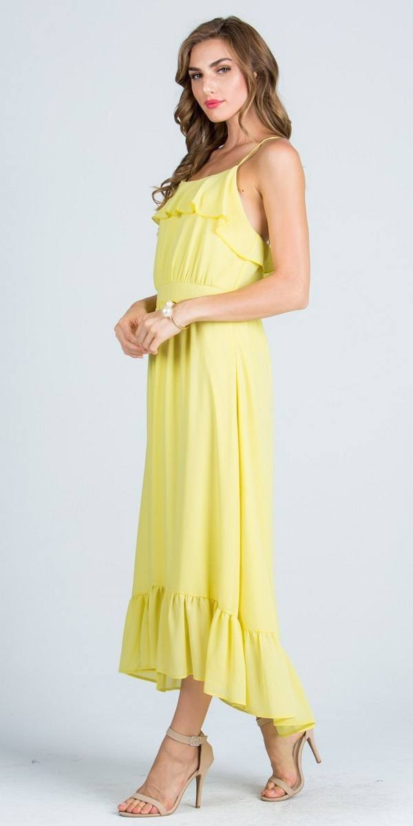 Ruffled Tea Length Party Dress Spaghetti Straps Yellow