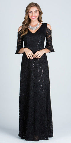 Black Floor Length Formal Dress Quarter Sleeves with Cold Shoulder
