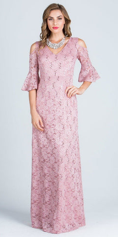 Blush Floor Length Formal Dress Quarter Sleeves with Cold Shoulder
