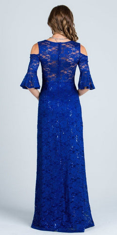 Royal Blue Floor Length Formal Dress Quarter Sleeves with Cold Shoulder