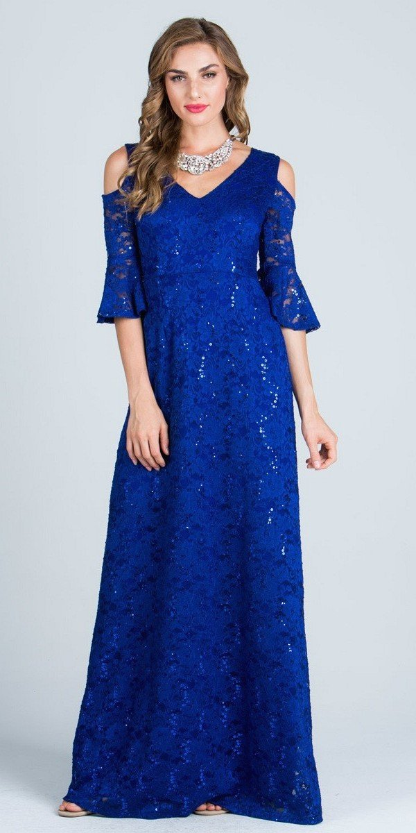 Silver Floor Length Formal Dress Quarter Sleeves with Cold ...
