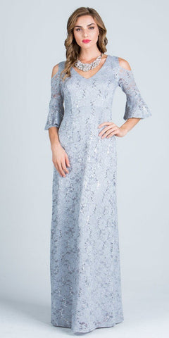 Silver Floor Length Formal Dress Quarter Sleeves with Cold Shoulder