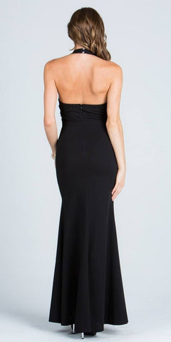 Black V-Neck Halter Evening Gown Beaded Waist