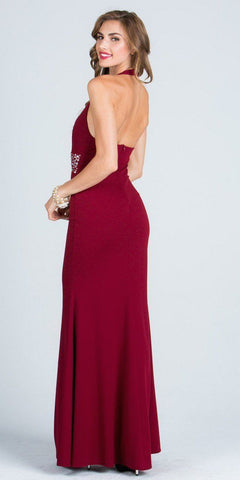 Burgundy V-Neck Halter Evening Gown Beaded Waist