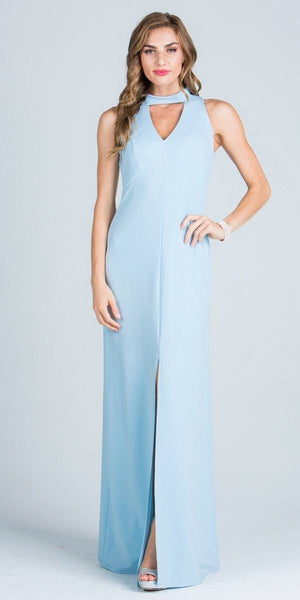 Close Neck A-Line Long Formal Dress with Keyhole and Slit Blue