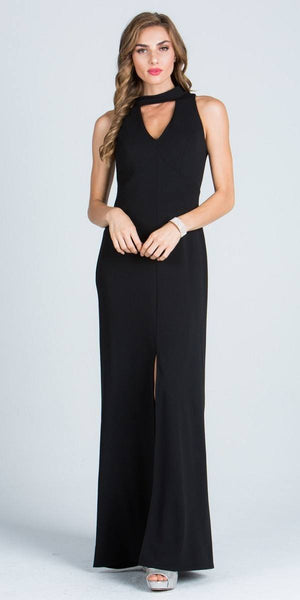 Close Neck A-Line Long Formal Dress with Keyhole and Slit Black