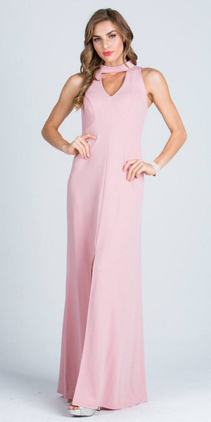 Close Neck A-Line Long Formal Dress with Keyhole and Slit Blush