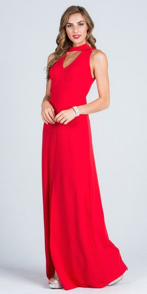 Close Neck A-Line Long Formal Dress with Keyhole and Slit Coral