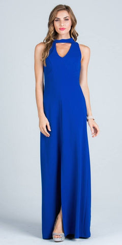 Close Neck A-Line Long Formal Dress with Keyhole and Slit Royal Blue