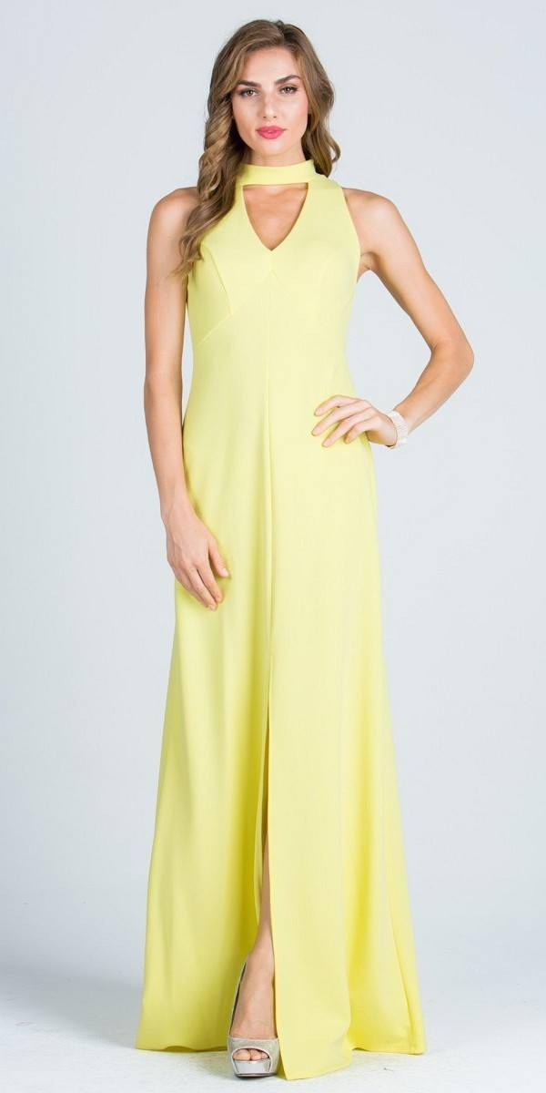 Close Neck A Line Long Formal Dress With Keyhole And Slit Black