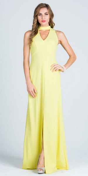 Close Neck A-Line Long Formal Dress with Keyhole and Slit Yellow