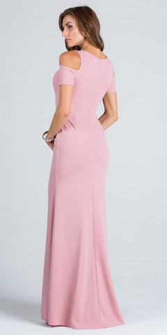 Blush Cold Shoulder Long Prom Dress with Lace Inset and Slit