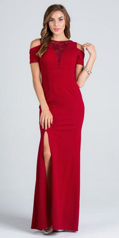 Burgundy Cold Shoulder Long Prom Dress with Lace Inset and Slit
