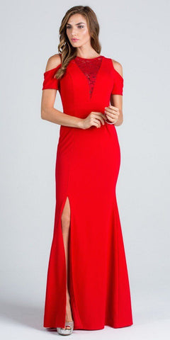 Red Cold Shoulder Long Prom Dress with Lace Inset and Slit
