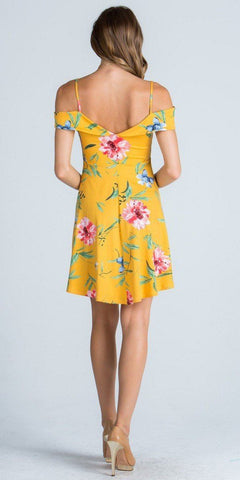 Mustard Printed Short Homecoming Dress Off Shoulder with Strap
