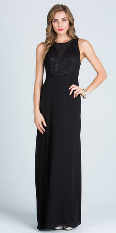 Sleeveless A-line Long Formal Dress with Cut Out Back Black