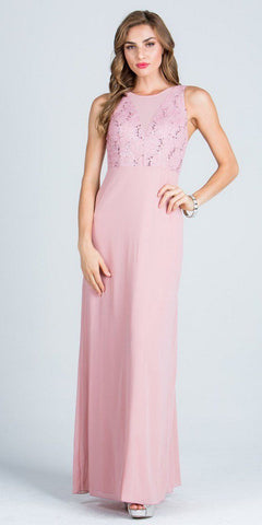 Sleeveless A-line Long Formal Dress with Cut Out Back Blush