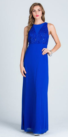 Sleeveless A-line Long Formal Dress with Cut Out Back Royal Blue