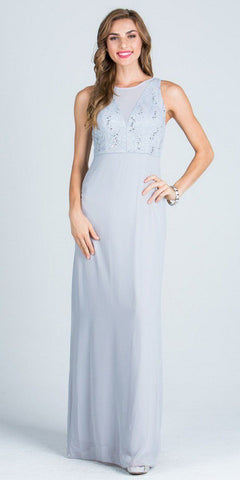 Sleeveless A-line Long Formal Dress with Cut Out Back Silver