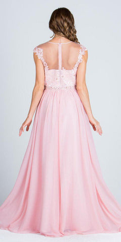 Illusion Lace Applique Top Cap Sleeve Long Prom A-line Dress Blush