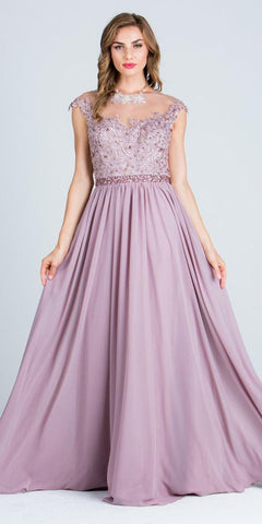 Illusion Lace Applique Top Cap Sleeve Long Prom A-line Dress Mauve
