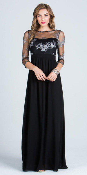 Illusion Mid Length Sleeves Long Formal Dress Empire Waist Black