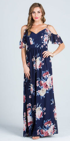 Navy Printed V-Neck Maxi Dress Cold Shoulder Open Back