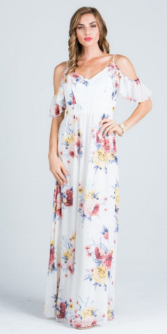 Off White Printed V-Neck Maxi Dress Cold Shoulder Open Back