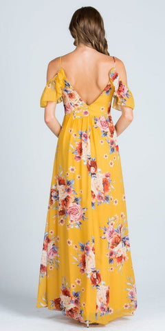 Yellow Printed V-Neck Maxi Dress Cold Shoulder Open Back