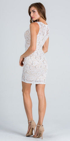Ivory Scoop Neck with Sheer Inset Sexy Fitted Cocktail Dress