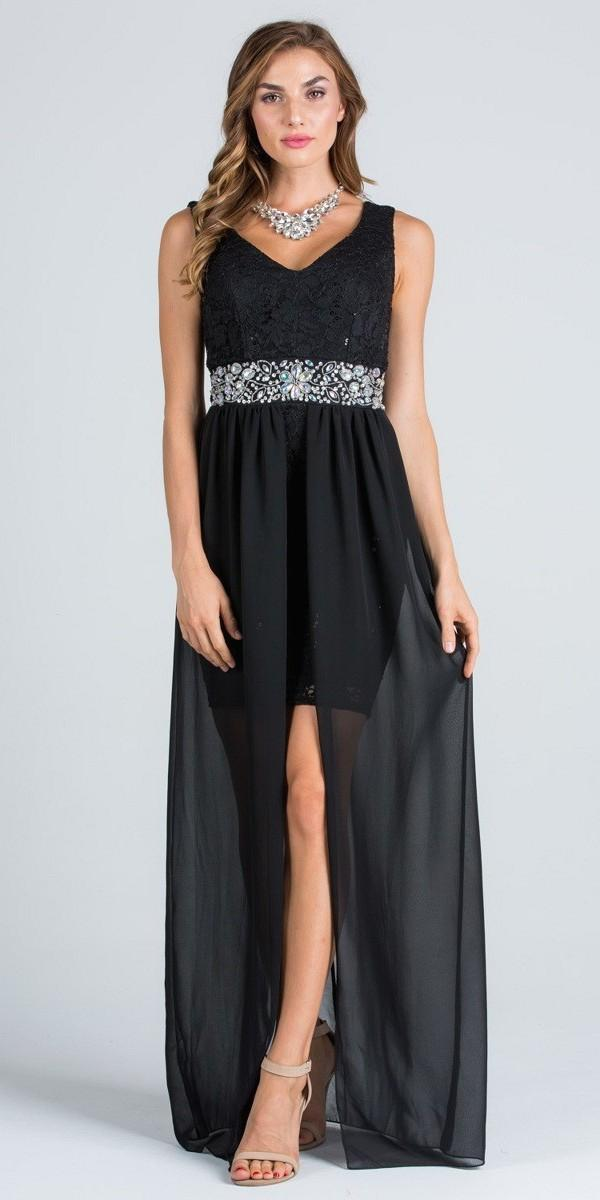 V-Neck Embellished Waist High Low Sleeveless Prom Dress Taupe ...