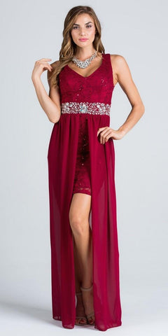 V-Neck Embellished Waist High Low Sleeveless Prom Dress Burgundy