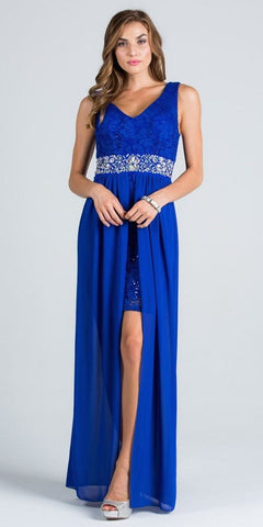 V-Neck Embellished Waist High Low Sleeveless Prom Dress Royal Blue