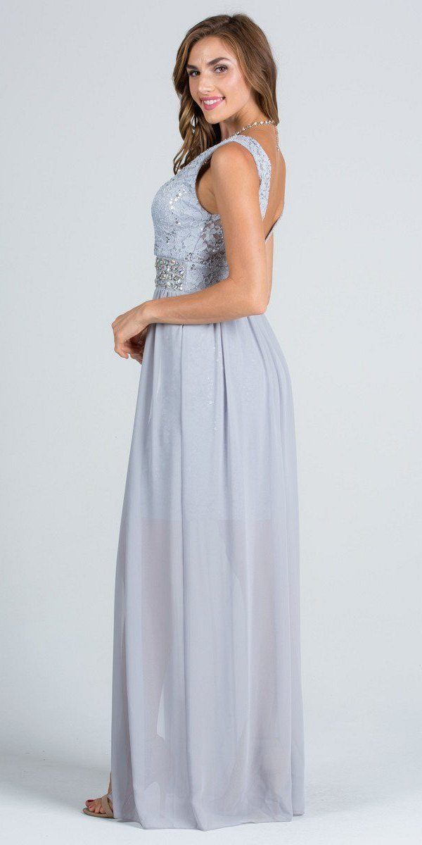 f759777dad4 ... V-Neck Embellished Waist High Low Sleeveless Prom Dress Silver ...