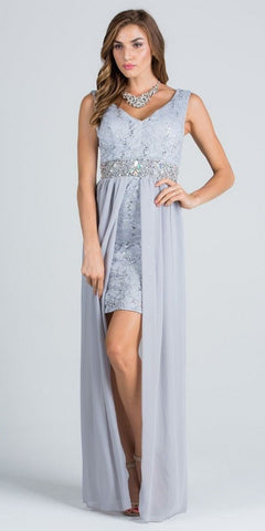 V-Neck Embellished Waist High Low Sleeveless Prom Dress Silver