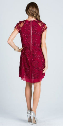 Burgundy Embroidered Shift Cocktail Dress Short Sleeves
