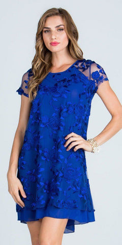 Royal Blue Embroidered Shift Cocktail Dress Short Sleeves