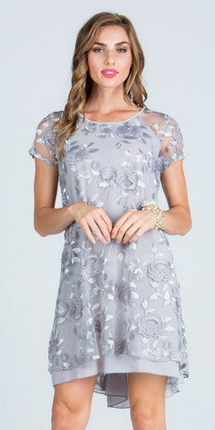 Silver Embroidered Shift Cocktail Dress Short Sleeves
