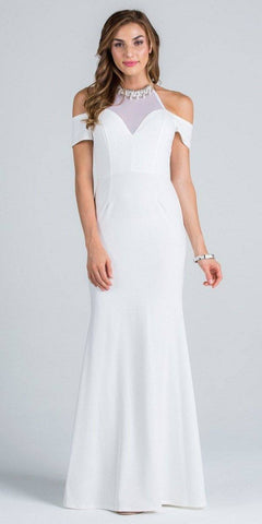 Off White High Beaded Neckline Cold Shoulder Long Prom Dress