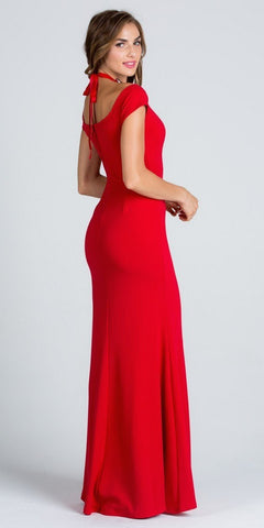 Red High Beaded Neckline Cold Shoulder Long Prom Dress