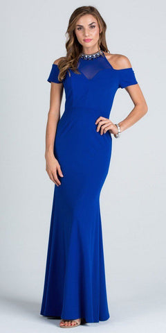 Royal Blue High Beaded Neckline Cold Shoulder Long Prom Dress