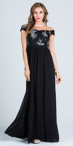 Off Shoulder Embroidered Bodice Floor Length Formal Dress Black