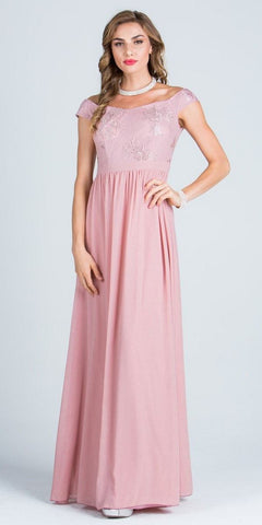 Off Shoulder Embroidered Bodice Floor Length Formal Dress Blush