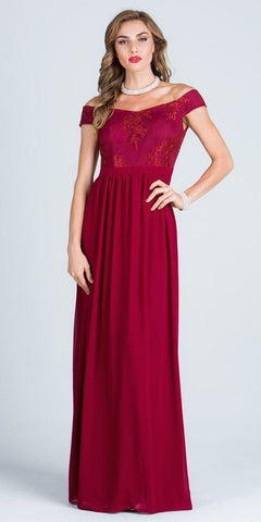 Off Shoulder Embroidered Bodice Floor Length Formal Dress Burgundy