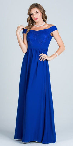 Off Shoulder Embroidered Bodice Floor Length Formal Dress Royal Blue