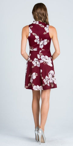 Halter Burgundy Floral Printed Keyhole Neckline Short Cocktail Dress