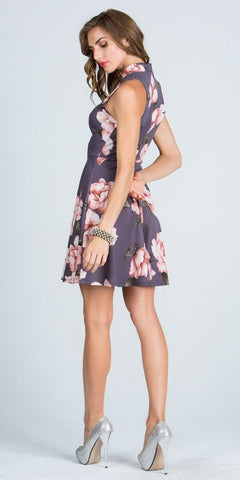 Halter Gray Floral Printed Keyhole Neckline Short Cocktail Dress