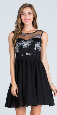 Illusion Embroidered Bodice Homecoming Short Dress Sleeveless Black