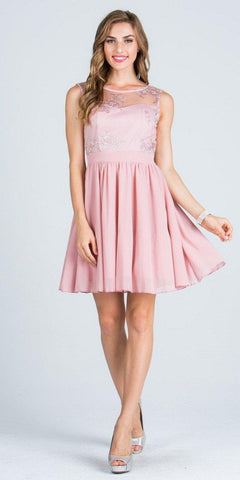 Illusion Embroidered Bodice Homecoming Short Dress Sleeveless Blush