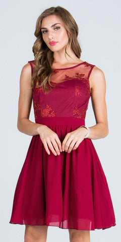 Illusion Embroidered Bodice Homecoming Short Dress Sleeveless Burgundy
